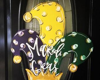 Mardi Gras Door Sign, Wood Door Sign