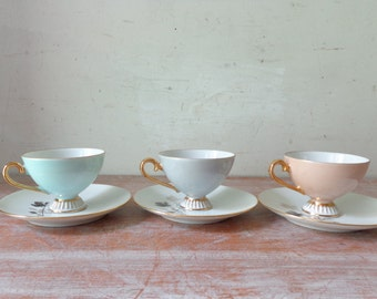 VIntage Westminster Demitasse Setting for 3 in Beautiful Pastel Tones
