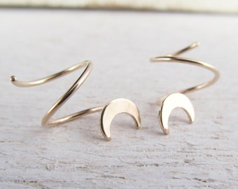 Crescent Moon Double Piercing Earrings / Double Hoops for 2 Side by Side Ear Piercings in 14/20 Gold Filled / Yellow Gold Filled / Small