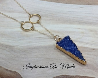 Triangle Necklace, Gold Triangle Necklace, Druzy Necklace, Druzy Triangle Necklace, Gold Necklace, Blue Necklace, Dyed