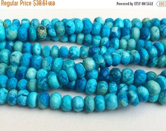 ON SALE 55% Turquoise Faceted Rondelle Beads, Chinese Turquoise Beads, Turquoise Necklace 5-11mm, 4 Inch, 17 Pcs - GSA2