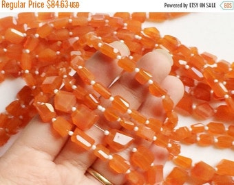 55% ON SALE Carnelian Step Cut Faceted Tumbles, Orange Carnelian Beads, Natural Carnelian Necklace, 8-10mm, 14 Inch, 32 Pcs - AGA89