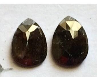 ON SALE 55% Matched Pair, Rose Cut Diamond, Natural Diamond, Rough Diamond, Raw Diamond, Faceted Cabochon, Dark Brown Diamond, 6.5mm Each