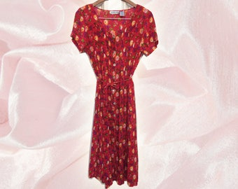 90s Red Floral Grunge Bohemian Crinkle Rayon Button Front Maxi Dress Duster Tie Waist Scoop Neck size Medium