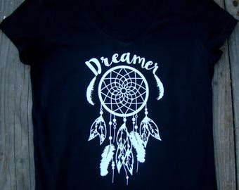Dream catcher dreamer shirt, Ladies Boho Chic tops and tees, feather tee Ladies V neck, Gift for her