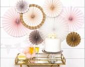 Wedding Fans Backdrop, Blush Pink, Cream, Gold Glitter, Paper Rosettes, Hanging Decorations, Bridal Shower, Girls Baby Shower Idea, Set Of 8