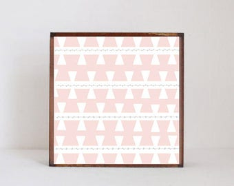 boho nursery art, nursery decor, geometric art for nursery- 5x5 art block- geometric nursery  blush pink wall art- redtilestudio