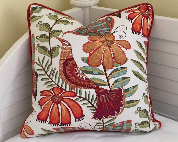 Botanica Orange Bird (On Both Sides) Designer Pillow Cover with Piping
