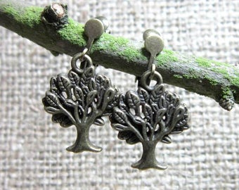 Bronze Leafy Tree Dangle Clip On Earrings - Clip Ons Screws Clips Unpierced Ears Dangles Drops Trees