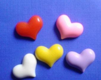 Kawaii heart cabochon decoden deco diy  5 pcs     USA seller