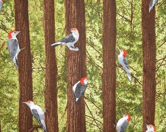 ON SALE Woodpeckers in the Forest Print Pure Cotton Fabric from Timeless Treasures-One  Yard