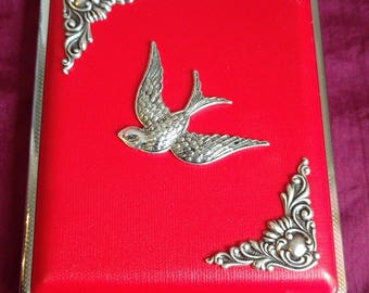 Swallow with Silver edging Faux Leather cigarette case / wallet / card holder in Faux Pink, Black or Red leather