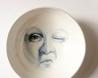Large Porcelain Bowl, Hand Drawn Face in Large Bowl, Wall Hanging or Mixing Bowl, Functional Art, Man in the Moon, Surreal Art