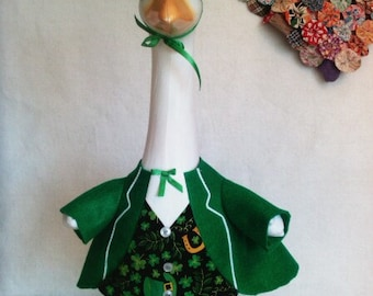 GOOSE SPRING CLOTHING  -  St. Patrick's Day Green Tux outfit for Plastic or Concrete lawn goose ~ Felt Goose Clothes