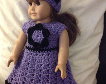 Doll dress and hat set Purple black  flower accent doll clothes crochet dress
