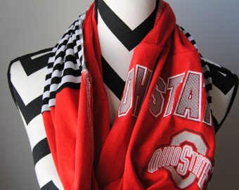 Ohio State Upcycled T-Shirt Infinity Scarf