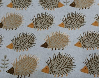 """Hedgehog - 1 yard - cotton linen - 3 colors ,animal, fabric ,Check out with code """"5YEAR"""" to save 20% off"""
