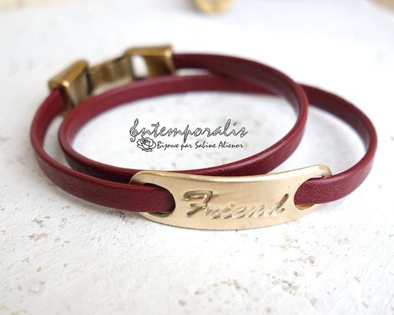 Bronze and burgundy leather bracelet, Friend, OOAK, SABR28