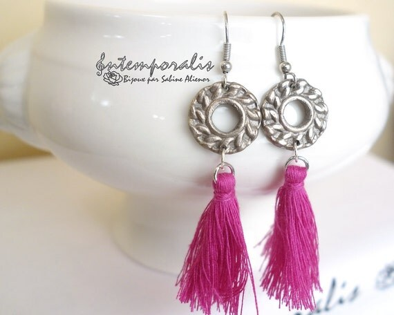 White bronze earrings with pink tassel, OOAK, SABO20