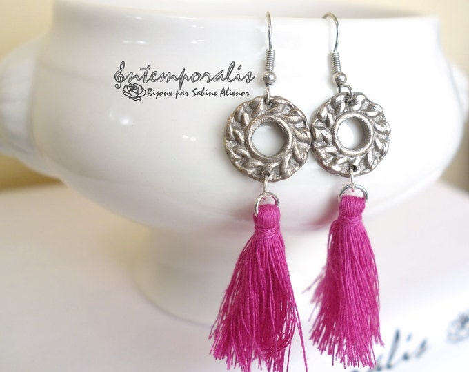 White bronze earrings with pink tassel, OOAK, SABO20