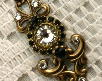 Large Crystal Bindi in Oxidized Brass