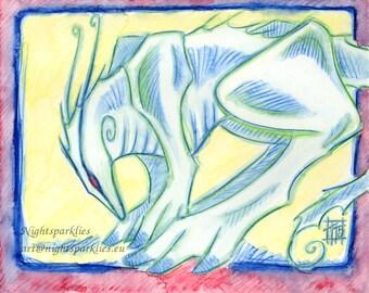 Original Watercolour Draconian Dragon Mystical Creature Concept