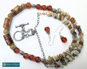 CUSTOM ORDER FOR M.B. - Earrings to match 26 inch Gemstone and Lampwork Necklace