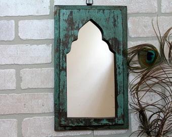 Mirror Reclaimed Vintage Indian Door Panel Wall Hanging Art Distressed Mirror Moroccan Decor Turkish Distressed Aqua Blue