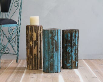 Large Wood Turquoise Blue Candle Holder Antique Indian Column Part Naturally Distressed Patina Architectural Element