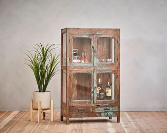 Vintage Indian Teak Wood Bar Cabinet