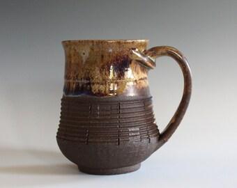 Pottery Mug, 13 oz, unique coffee mug, handmade ceramic cup, handthrown mug, stoneware mug, wheel thrown pottery mug, ceramics