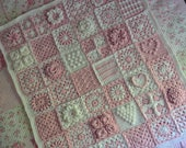 RESERVED Custom Order - Hearts in Bloom - Sampler Patchwork Granny Square Afghan - Pink and White
