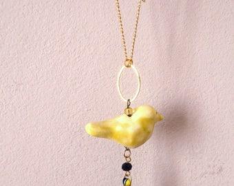 Sautoir oiseau jaune céramique Les Bijoux de la Diva