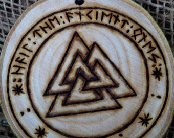 Valknut Plaque,  Viking Decor, Hail the ancient ones. Yggdrasil, Altar Tile, Pagan, Odin, LARP, Protection. Norse, Viking, Asatru, Heathen.