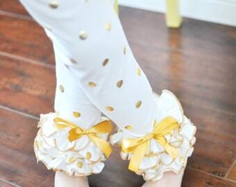 Ivory and Gold Dot Leggings with Full Ruffles / Girls Leggings