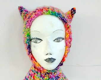 Rainbow Pink Kitty Cat Ears Balaclava Hat Toddler Youth Adult Small Hand Knit