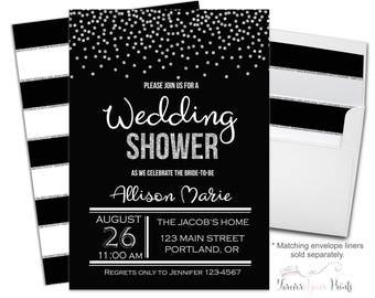 Modern Wedding Shower Invitation Printable or Printed - Bridal Shower Invitation - Bachelorette Invitation - Bridal Invitation - Confetti