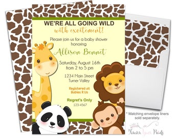 Jungle Safari Baby Shower Invitation, Giraffe Baby Shower Invitation, Jungle Party Invite, Safari Baby Shower, Giraffe Invitation, Neutral