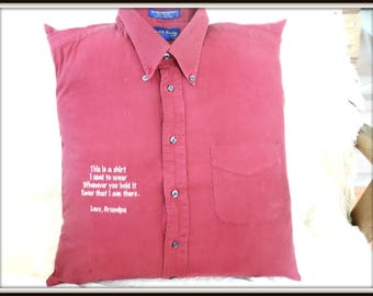 Memorial pillow with collar, your shirt pillow, shirt with collar pillow, memory pillow, condolences gift, loss of father, loss of grandad