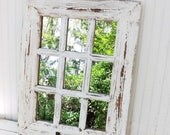 ON SALE Rustic Farmhouse Window Mirror~Window Pane Mirror~Shabby Chic Mirror~Large Wall Mirror~Vintage Style