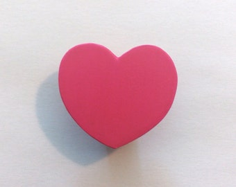 Bright Pink Painted Children's Wood Drawer Knob