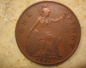 1927 United Kingdom Bronze Coin, One Penny , George VI