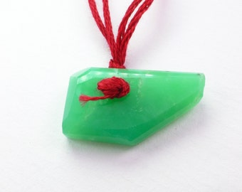 Chrysoprase Bead. Natural Chrysoprase Pendant Tavernier Cut. Geometric. DRILLED. 1 pc. 12x21x4 mm  (CH439)