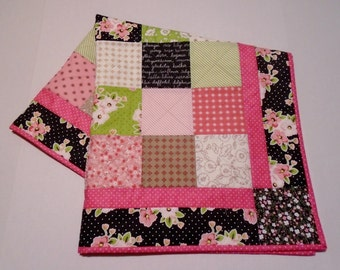 Modern Baby Quilt Pink and Black Florals, Floral and Polka Dot Baby Blanket Quilt, Patchwork Baby Quilt, Baby Girl Quilt in Bright Colors