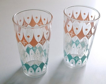 Hocking Glasses Atomic Pink Blue White Tumblers Harlequin Diamond  Vintage  Mid Century 1950's