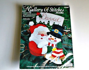 Bucilla Gallery Of Stitches Santa and Snowman Stocking Kit # 33588 Christmas Kit 15 Inch Stocking