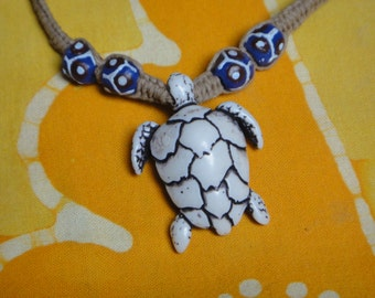 Hawaiian Sea Turtle African Bead Hemp Necklace