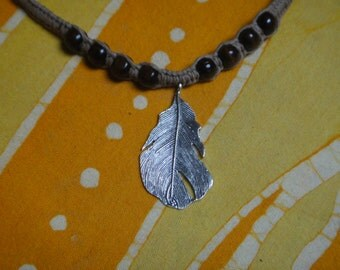 Hemp Neckalce Feather Charm and Wood Beaded Choker