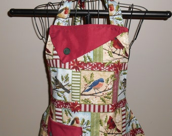 Christmas Birds and Holly Women's Apron