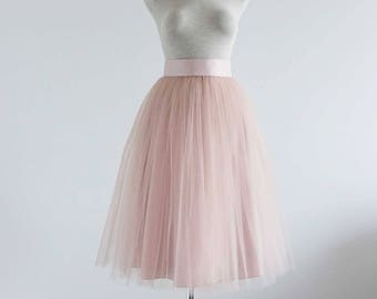 Blush  tulle skirt. Tea length tulle skirt. Women tulle skirt. Tutu skirt women. Bridesmaid tutu. Bridal tulle skirt. Tulle skirt.